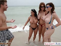 Busty bikini babes share dick be fitting of wild FFFM foursome upon reach orgasm
