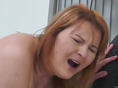 Mature redhead with an increment of her young lover get up swain with awesome sex