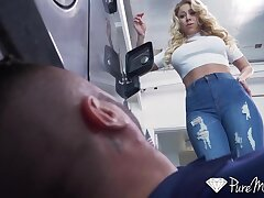 Slutty cougar housewife Katie Morgan gets intimate with handsome young mechanic