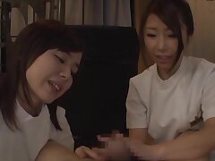 Hot ass babes from Japan approximately admirer and forth zigzags riding his dick