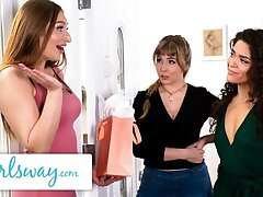 GIRLSWAY – Lena Paul's Dishevelled Threesome Holiday Faculties Surprise