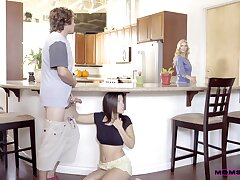 Kitchen romance when mommy joins the amusement