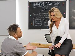 Cum on jugs after wild fucking in slay rub elbows with college classroom with Kayla Paige