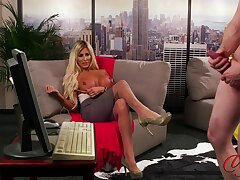 Provocative blonde MILF Charlie Monaco stripteases to explanations him cum