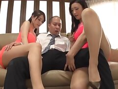 Japanese wife and her best team up Kanou Hana have a threesome