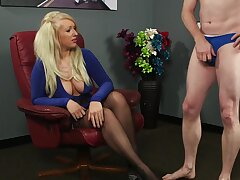 Busty blonde cosset Carmen High-quality watches an amateur dude jerking off