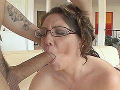 Thick mom has fun fucking his big cock like a slut