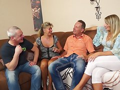 Two swinger couples enjoy having exploitive and crazy foursome sex