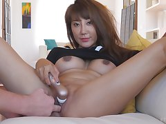 Exotic asian MILF Tiffany needs a condensed help masturbating at home