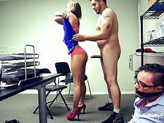 Tied up nerdy helpmate has to ahead to leggy Norah Falling star riding strong cock