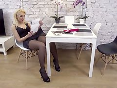 Slutty housewife there stockings Zara masturbates sex-starved twat