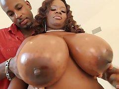 Ebony mom with giant knockers, insane home porn