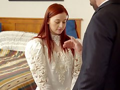 Unostentatious looking bride Danni Rivers spreads legs to enjoy missionary fuck
