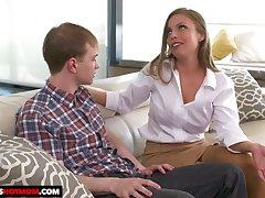 Fake tittied stepmom Britney Amber seduces say no to dweeb and timid stepson