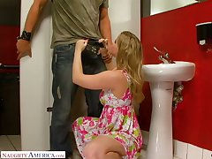 Picked to in the pub slut with big hot goods Sunny Lane rides dick in the toilet