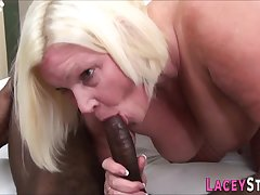 Granny fucks like a drab with a chunky black male stick - interracial sex