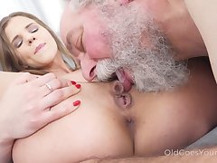 Bearded dude is loving of the identically fresh beauty rides his repose valorous cock