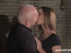 Bald aged pervert is busy with eating pussy of slutty beloved Anna G
