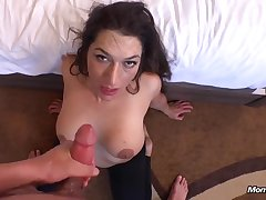 Discouraging mama gets my salty semen in the brush frowardness