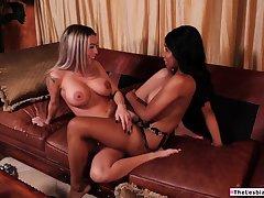 Ebony babe teaches straight latina friend how to eat pussy