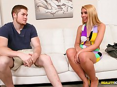 Sassy and ligh haired blonde gets fucked and deepthroats a cock in POV