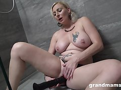 Seductive blonde woman works say no to new dildo in a sexy solo