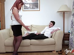 Sexy stepmom fucks her stepson after he refuses to clean the range