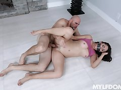 Gagged cougar MILF fucked merciless by guy with monster dick