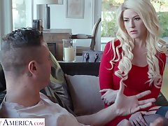 Blond babe surrounding red dress and stockings Kit Mercer is fucked by Danny Mountain