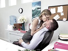 Skinny long legged nerdy secretary rides and sucks plucky cock in get under one's office