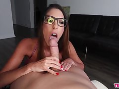 Aroused mollycoddle sucks dick increased by waits be worthwhile for cum on her glasses
