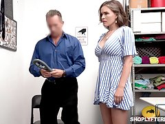 Super sexy shoplifter Krissy Lynn gets punished in a guard court