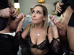 Loose busty whore in black lingerie Siya Jey is so into hard double penetration
