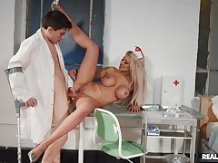 Be keen on spreads legs for young patient with a huge dick