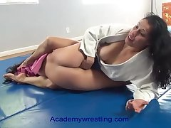 academywrestling.com  womanlike encounter with scissors, arm bars, headlocks and submissions as a catch loser is d to corrode pussy