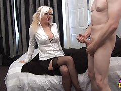 Horny blonde secretary Valerie Fox opens her legs for making out