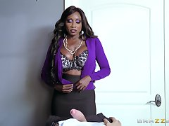 Ebony MILF uses her skills to devour massive wan penis