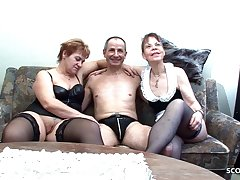 Two German Grandmas at Real FFM Threesome Porn Performers Sex