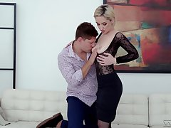 Looking slick in lace and fishnet, Di Devi gets dicked good