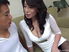 Censored Japanese porn video of sexy chick Rei Kitajima having sex