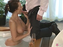 Busty Cindy Dollar has a blast swirling will not hear of tongue on detect onwards sex